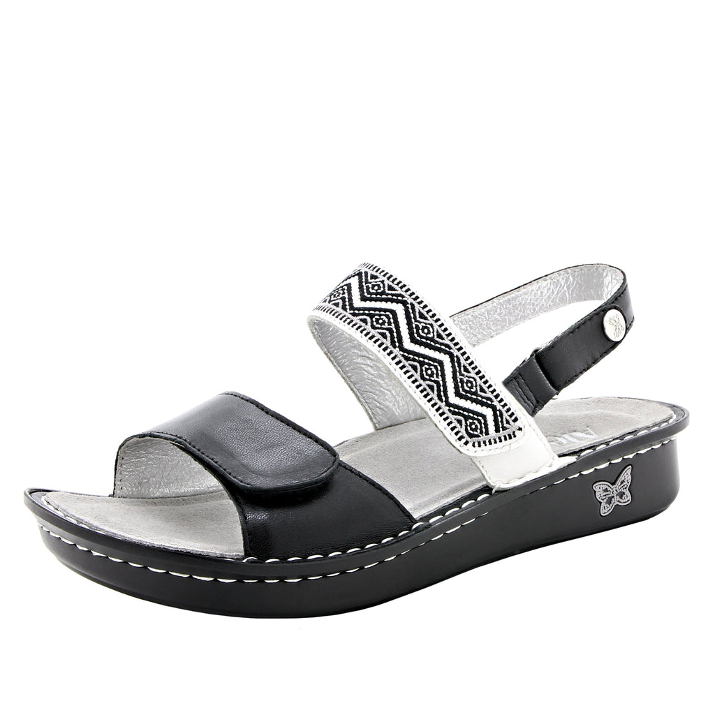 Verona Black slingback sandal with three hook and loop adjustable straps on mini outsole - VER-621_S1 (1955304636470)