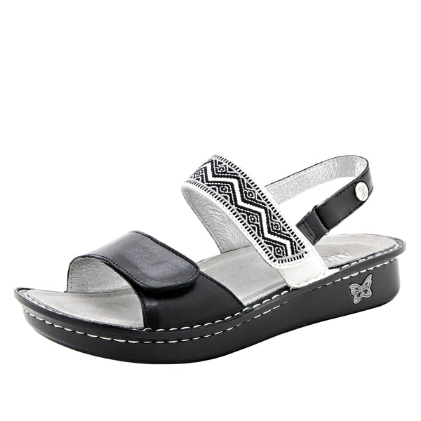 Verona Black slingback sandal with three hook and loop adjustable straps on mini outsole - VER-621_S1