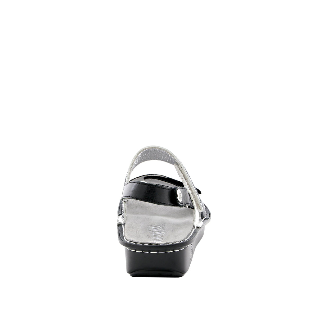 Verona Black slingback sandal with three hook and loop adjustable straps on mini outsole - VER-621_S3