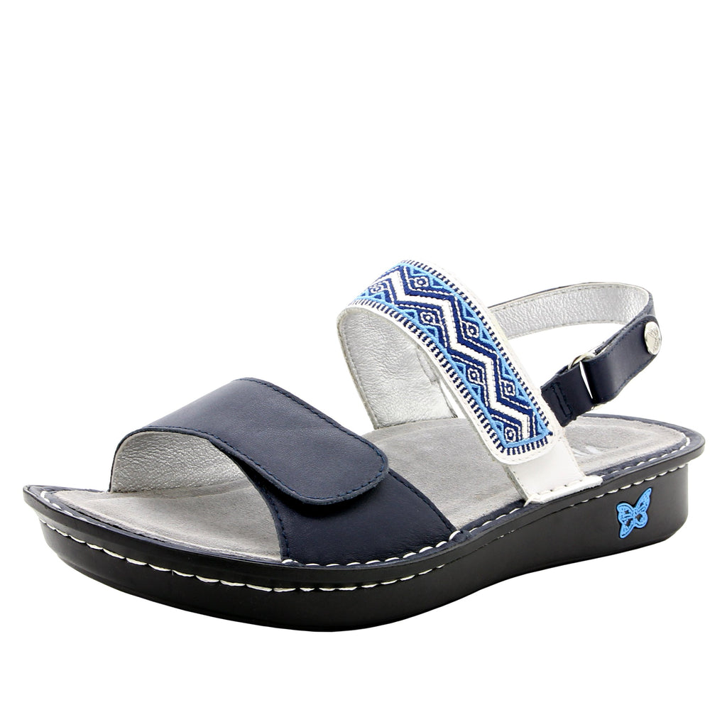 Verona Navy slingback sandal with three hook and loop adjustable straps on mini outsole - VER-622_S1