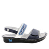 Verona Navy slingback sandal with three hook and loop adjustable straps on mini outsole - VER-622_S2