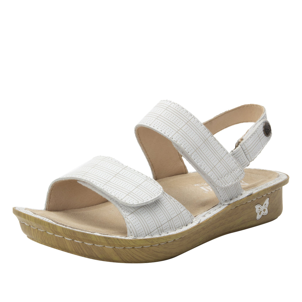 Verona Engraver White three strap adjustable sandal on mini outsole - VER-7758-S1