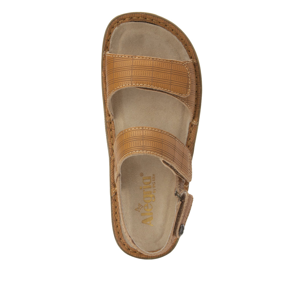 Verona Engraver Cognac three strap adjustable sandal on mini outsole - VER-7759-S5