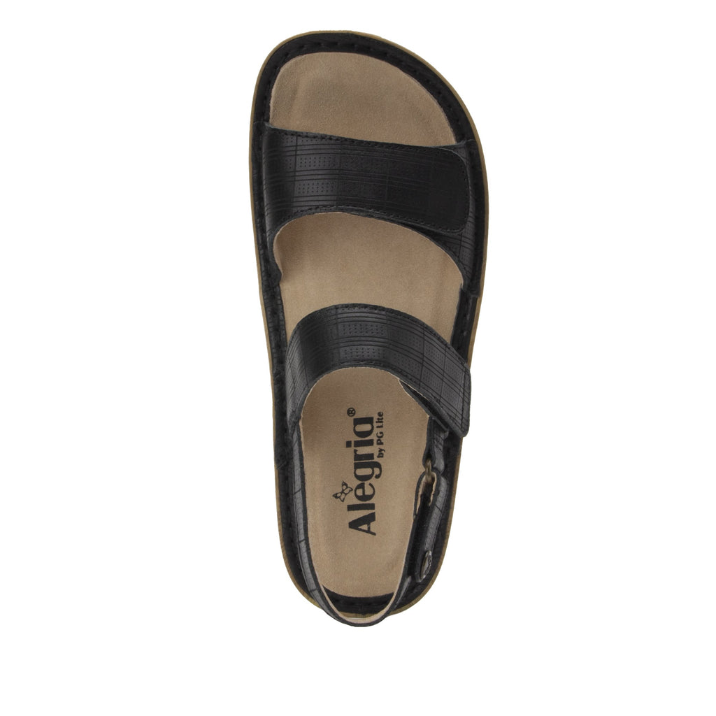 Verona Engraver Black three strap adjustable sandal on mini outsole - VER-7760-S4
