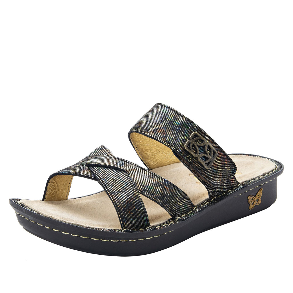 Victoriah Copacetic Copper with crisscross detail and adjustable strap slide on sandal on mini outsole - VIC-126_S1