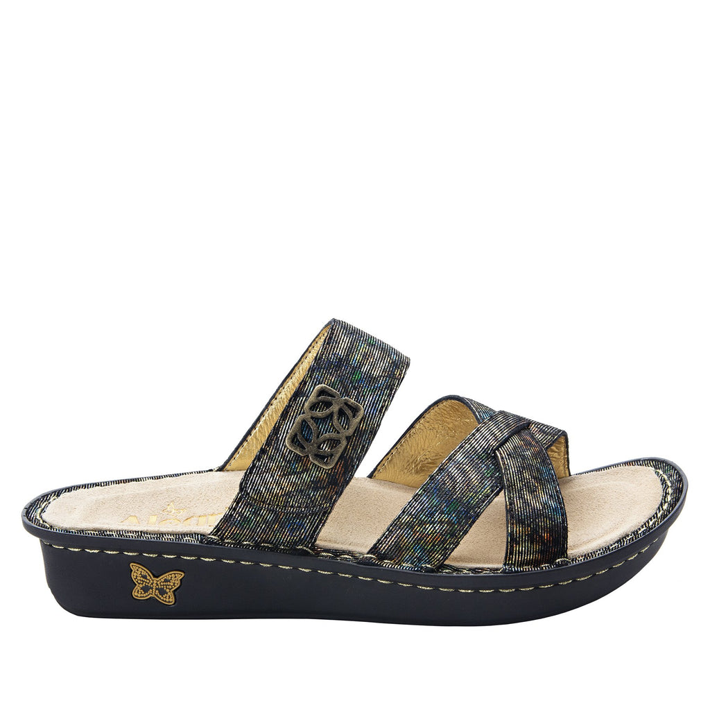 Victoriah Copacetic Copper with crisscross detail and adjustable strap slide on sandal on mini outsole - VIC-126_S2