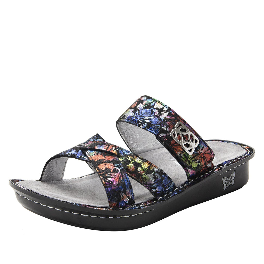 Victoriah Ruckus with crisscross detail and adjustable strap slide on sandal on mini outsole - VIC-343_S1