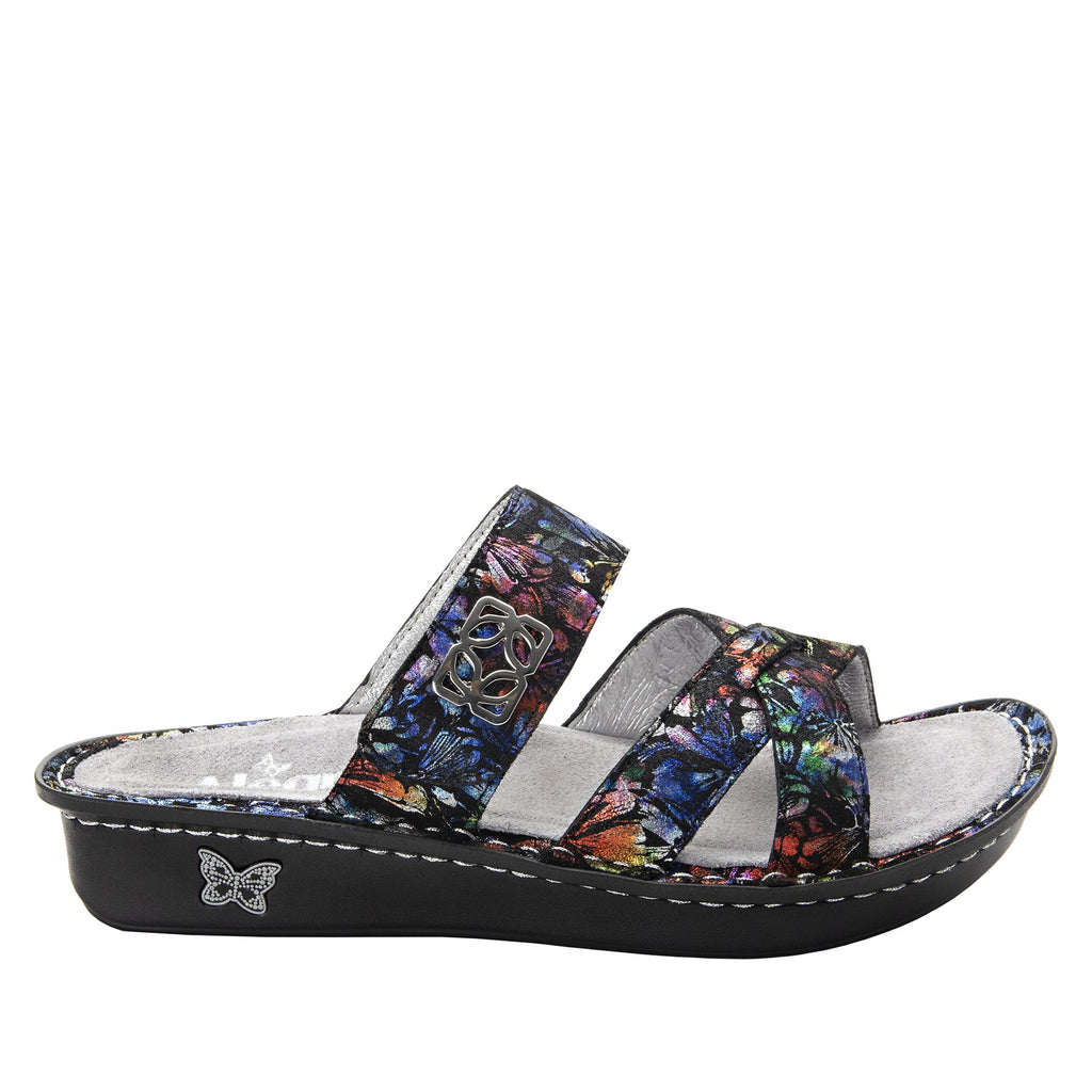 Victoriah Ruckus with crisscross detail and adjustable strap slide on sandal on mini outsole - VIC-343_S2