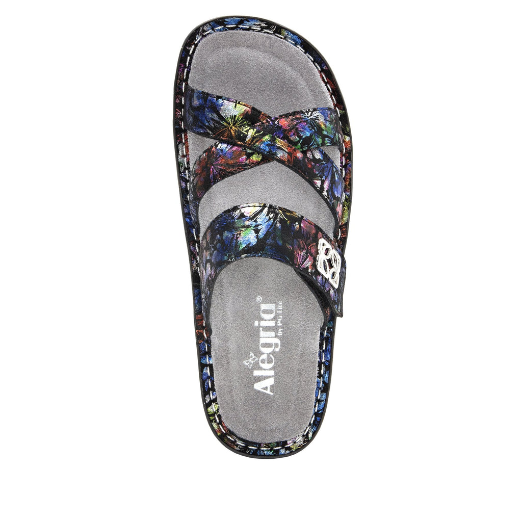 Victoriah Ruckus with crisscross detail and adjustable strap slide on sandal on mini outsole - VIC-343_S4