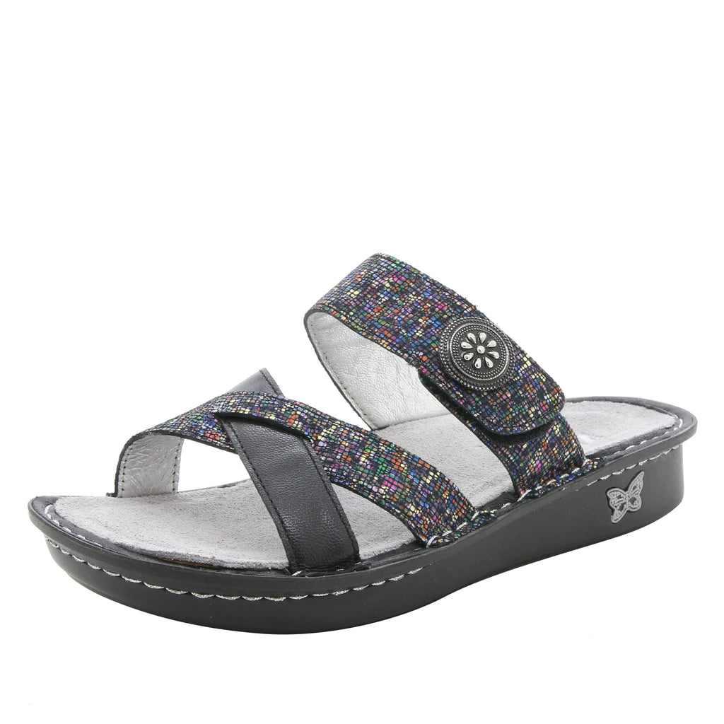Victoriah All Spice with crisscross detail and adjustable strap slide on sandal on mini outsole - VIC-476_S1