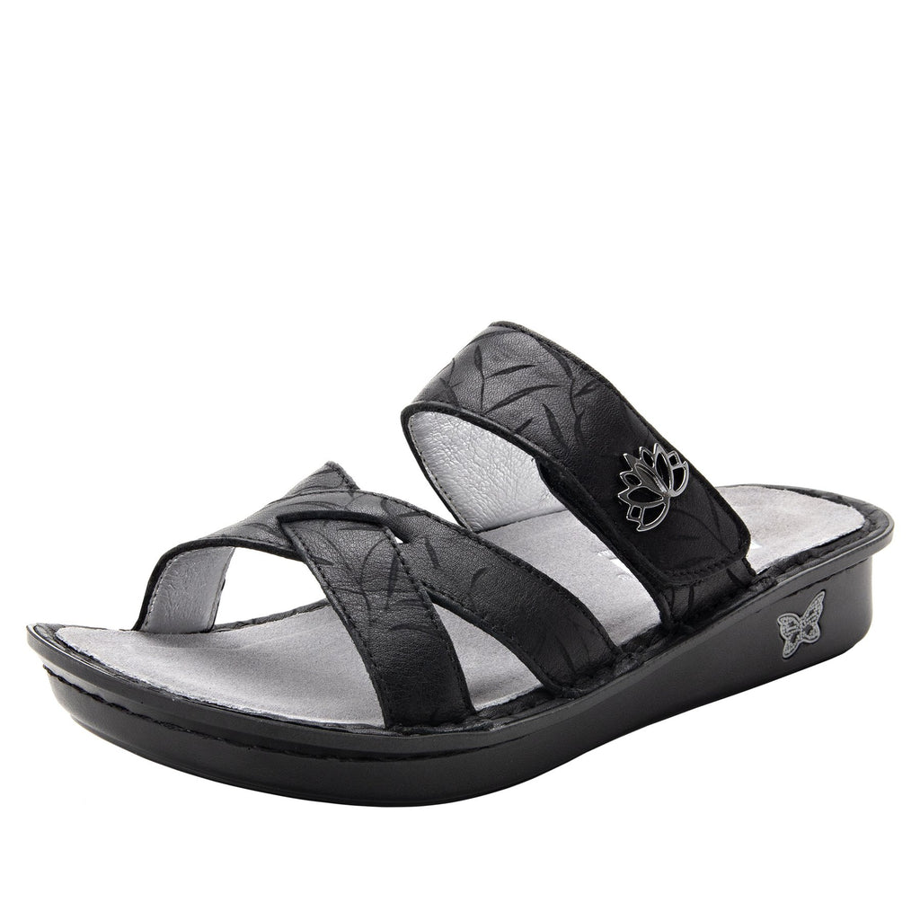 Victoriah Lotus with crisscross detail and adjustable strap slide on sandal on mini outsole - VIC-504_S1