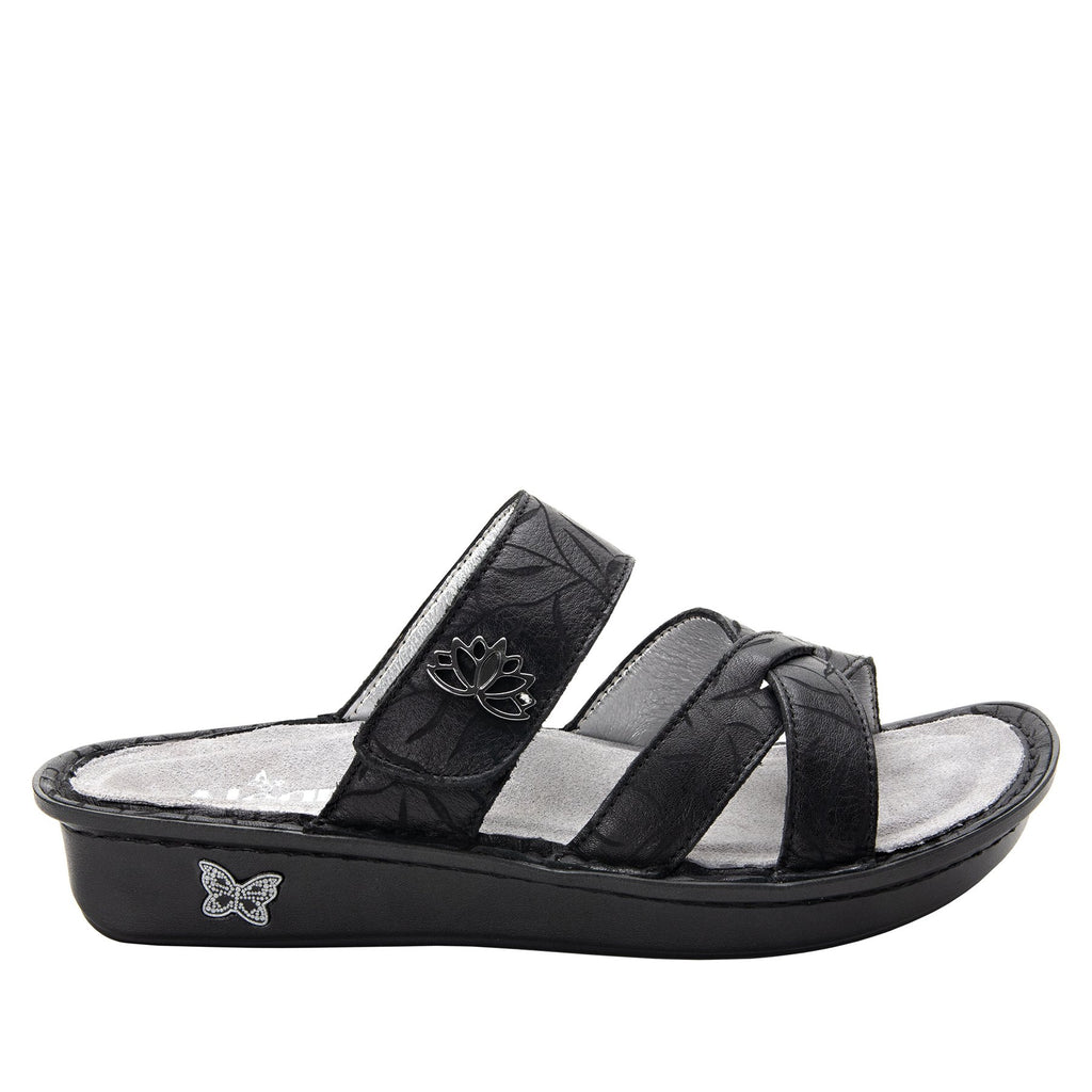 Victoriah Lotus with crisscross detail and adjustable strap slide on sandal on mini outsole - VIC-504_S2