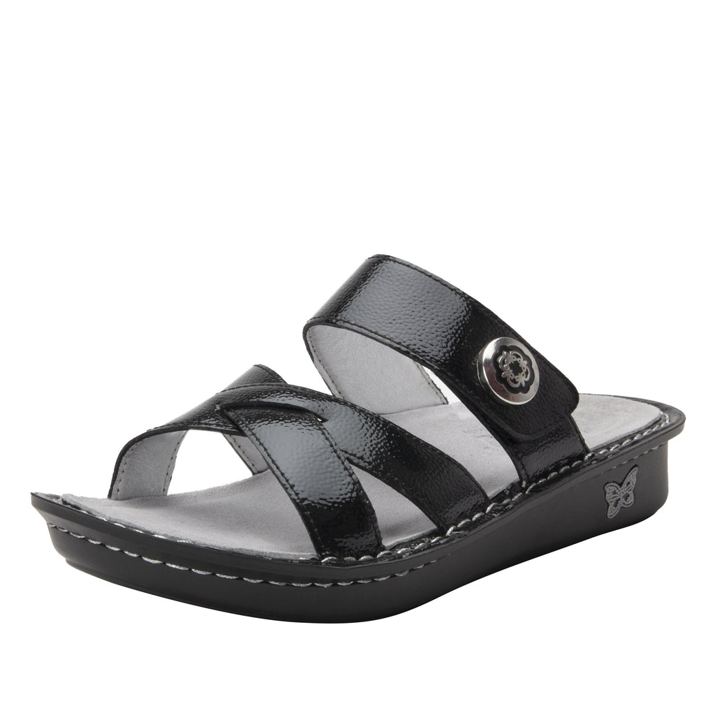 Victoriah Black Patent with crisscross detail and adjustable strap slide on sandal on mini outsole - VIC-7755_S1