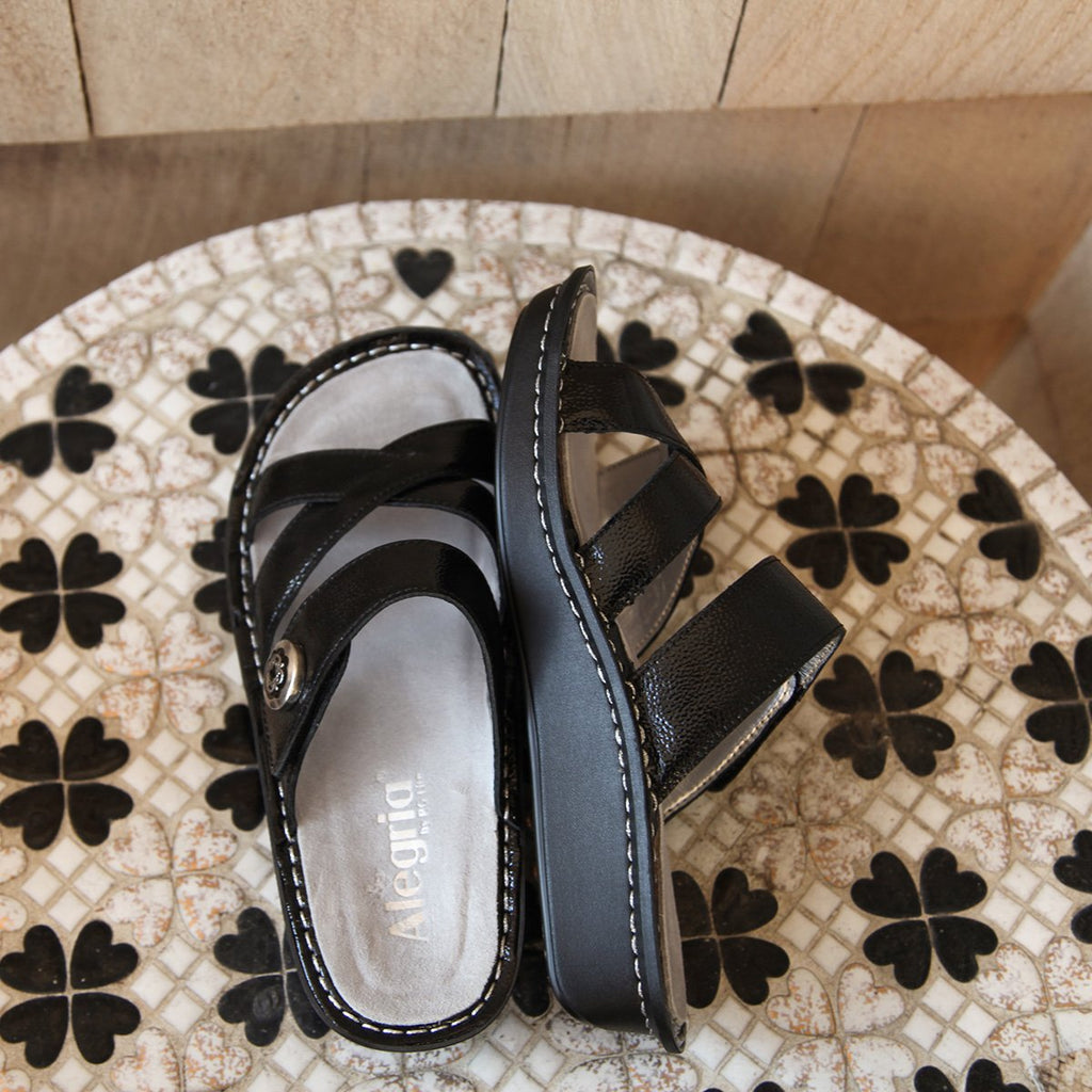 Victoriah Black Patent with crisscross detail and adjustable strap slide on sandal on mini outsole - VIC-7755_S2