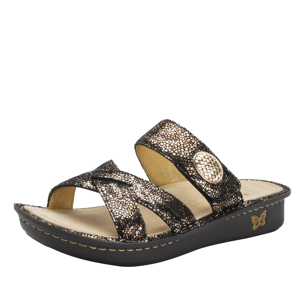 Victoriah Exotic with crisscross detail and adjustable strap slide on sandal on mini outsole - VIC-7756_S1