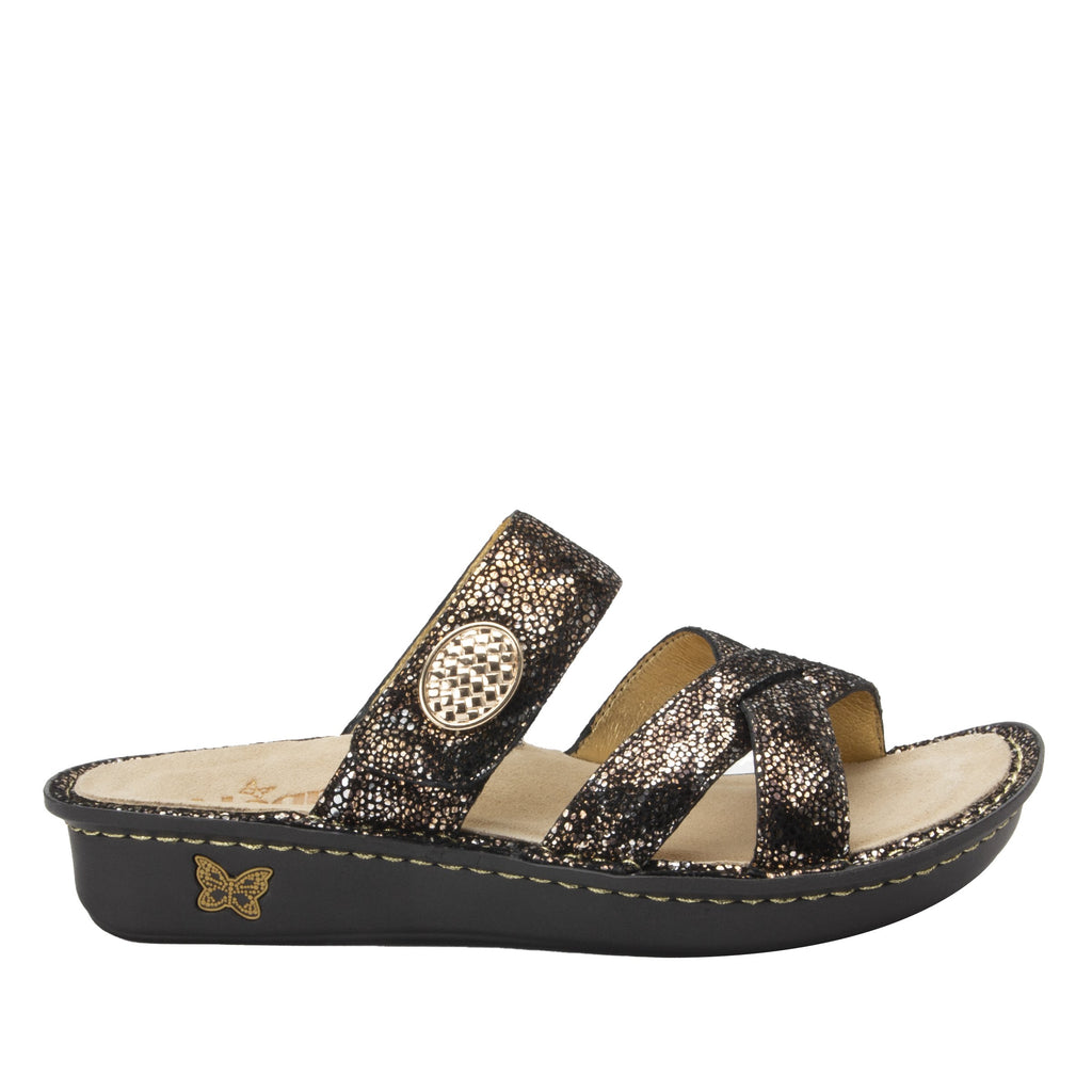 Victoriah Exotic with crisscross detail and adjustable strap slide on sandal on mini outsole - VIC-7756_S2