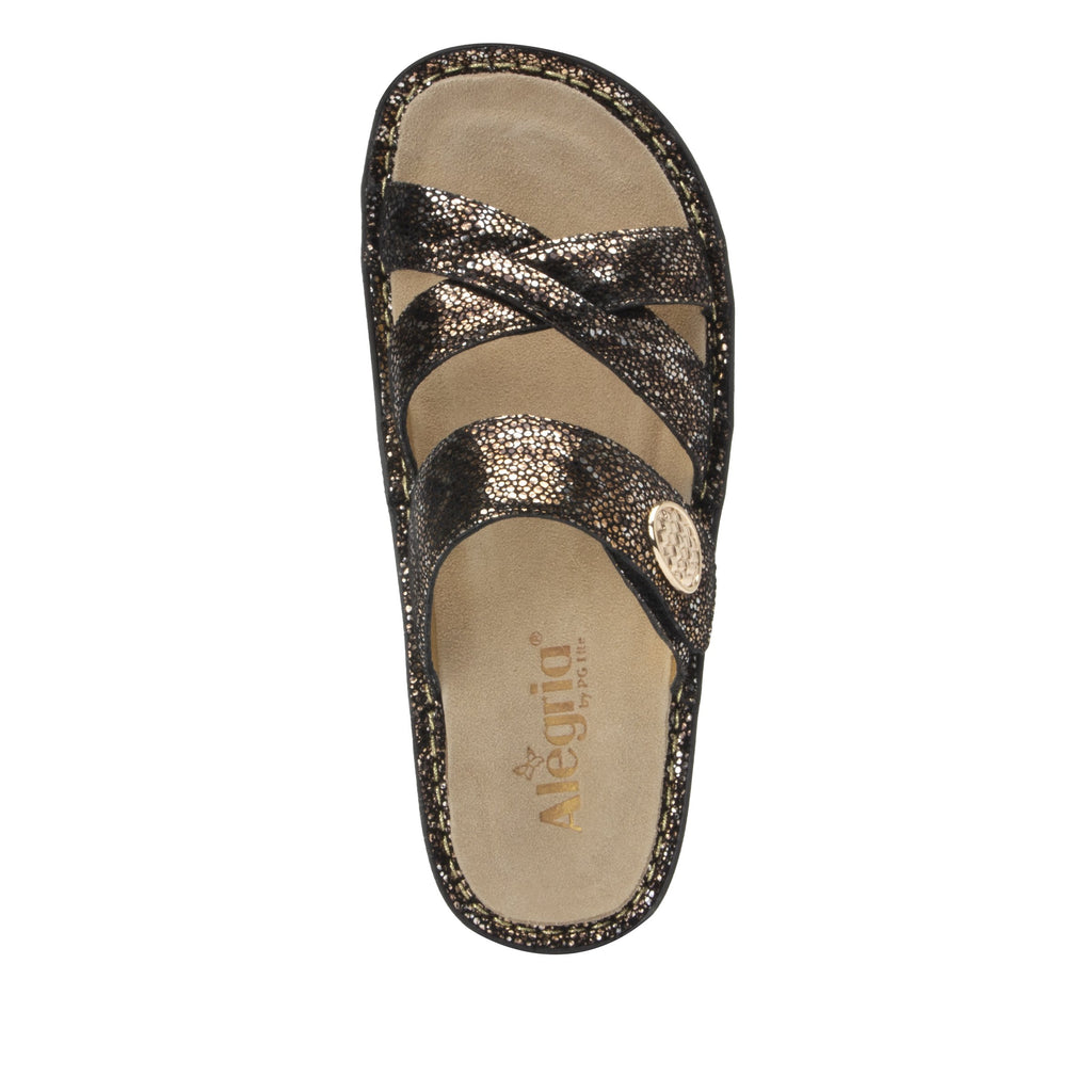 Victoriah Exotic with crisscross detail and adjustable strap slide on sandal on mini outsole - VIC-7756_S4
