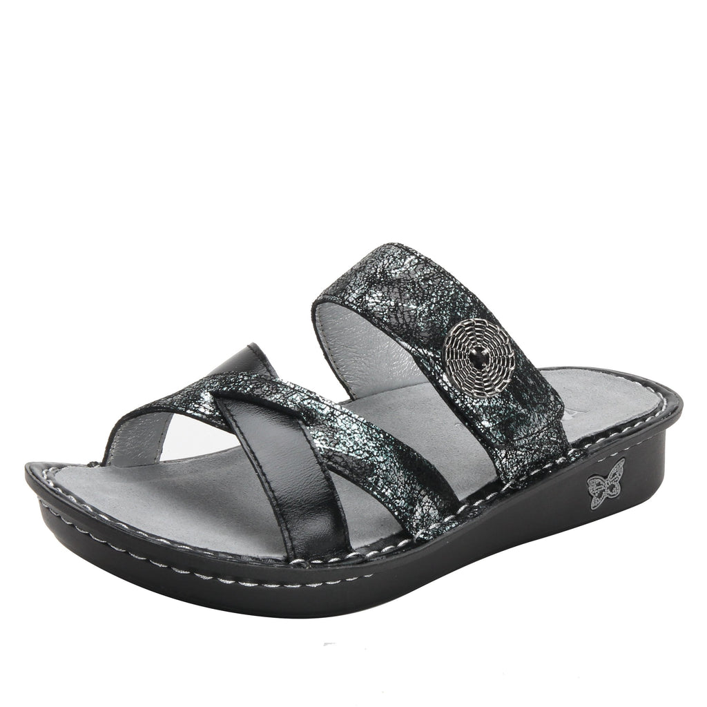Victoriah Pretty Patina with crisscross detail and adjustable strap slide on sandal on mini outsole - VIC-887_S1 (1940737294390)