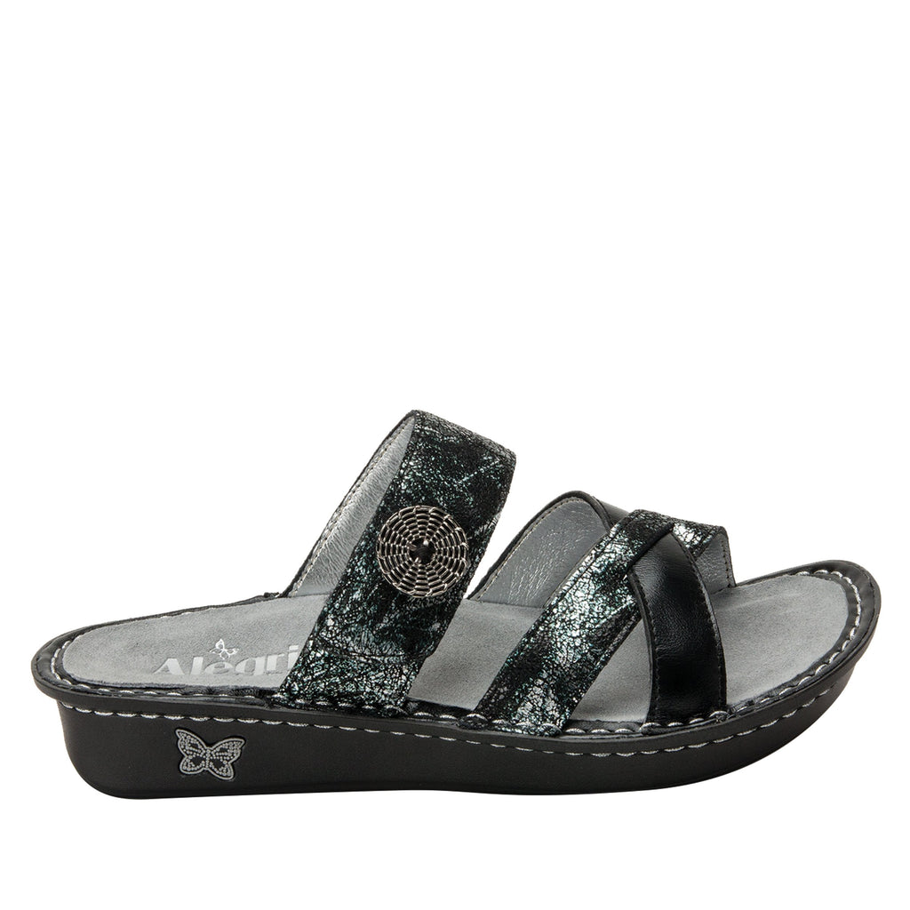 Victoriah Pretty Patina with crisscross detail and adjustable strap slide on sandal on mini outsole - VIC-887_S2 (1940737294390)