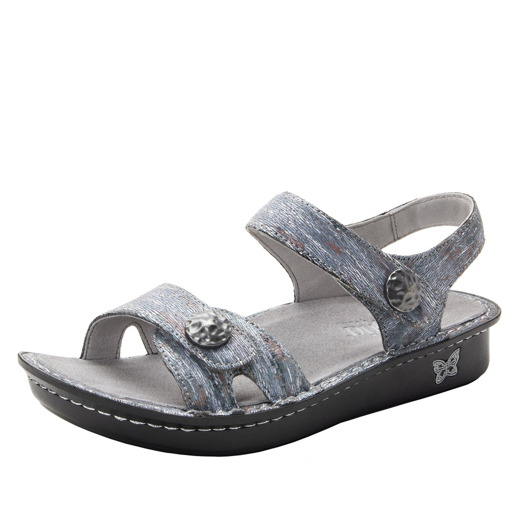 Vienna Smoke Sandal with two adjustable hook and loop strap closures and ankle strap - VIE-123_S1
