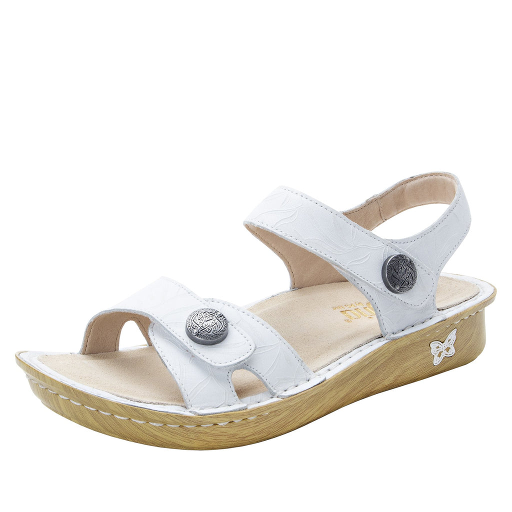 Vienna Lotus White Sandal with two adjustable hook and loop strap closures and ankle strap - VIE-464_S1