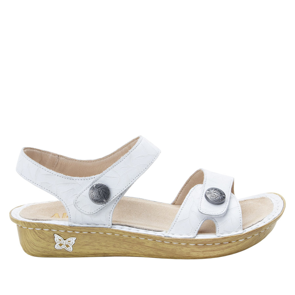 Vienna Lotus White Sandal with two adjustable hook and loop strap closures and ankle strap - VIE-464_S2