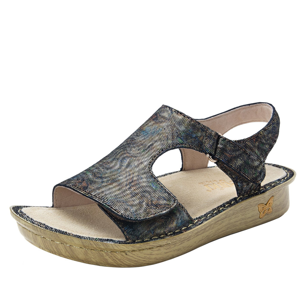 Viki metallic printed Copacetic Copper slingback sandal with dual adjustable straps - VIK-126_S1