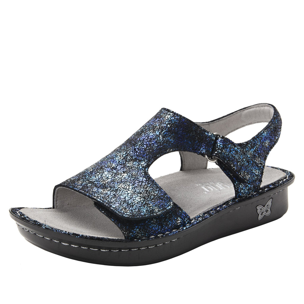 Viki metallic printed Magnetic slingback sandal with dual adjustable straps - VIK-794_S1