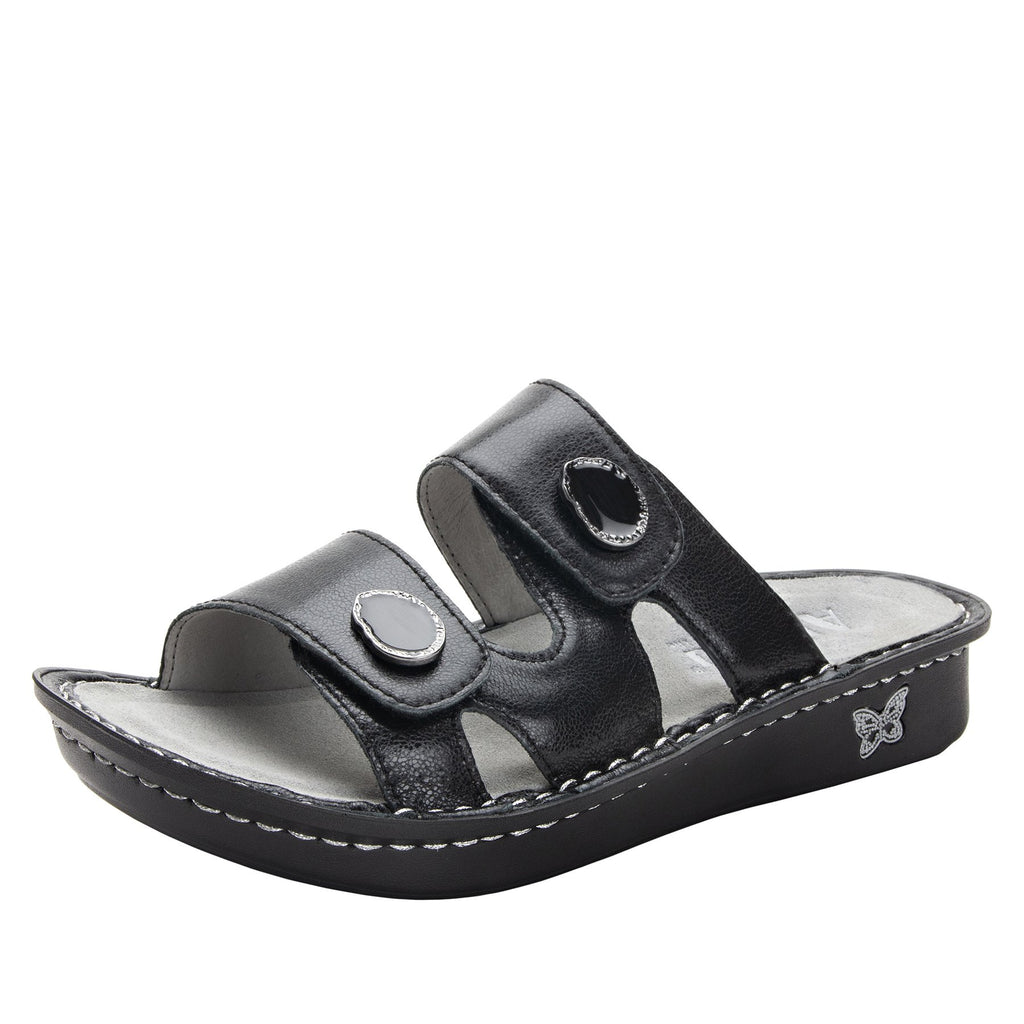 Violette Black slide sandal with cutout design on mini outsole - VIO-611_S1