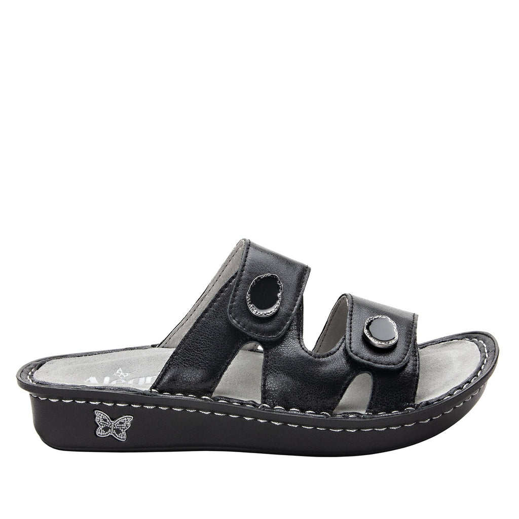 Violette Black slide sandal with cutout design on mini outsole - VIO-611_S2