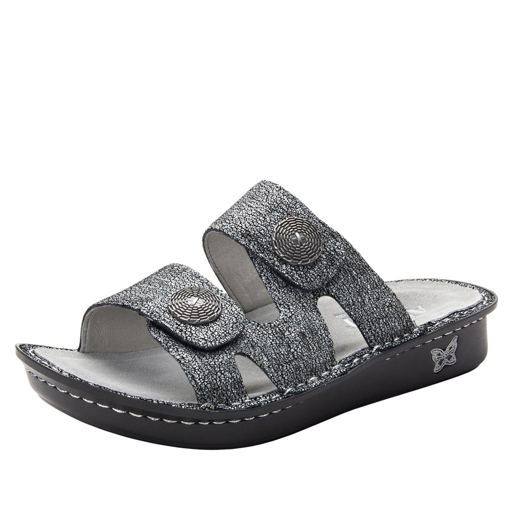 Violette Chirpy Pewter slide sandal with cutout design on mini outsole - VIO-900_S1