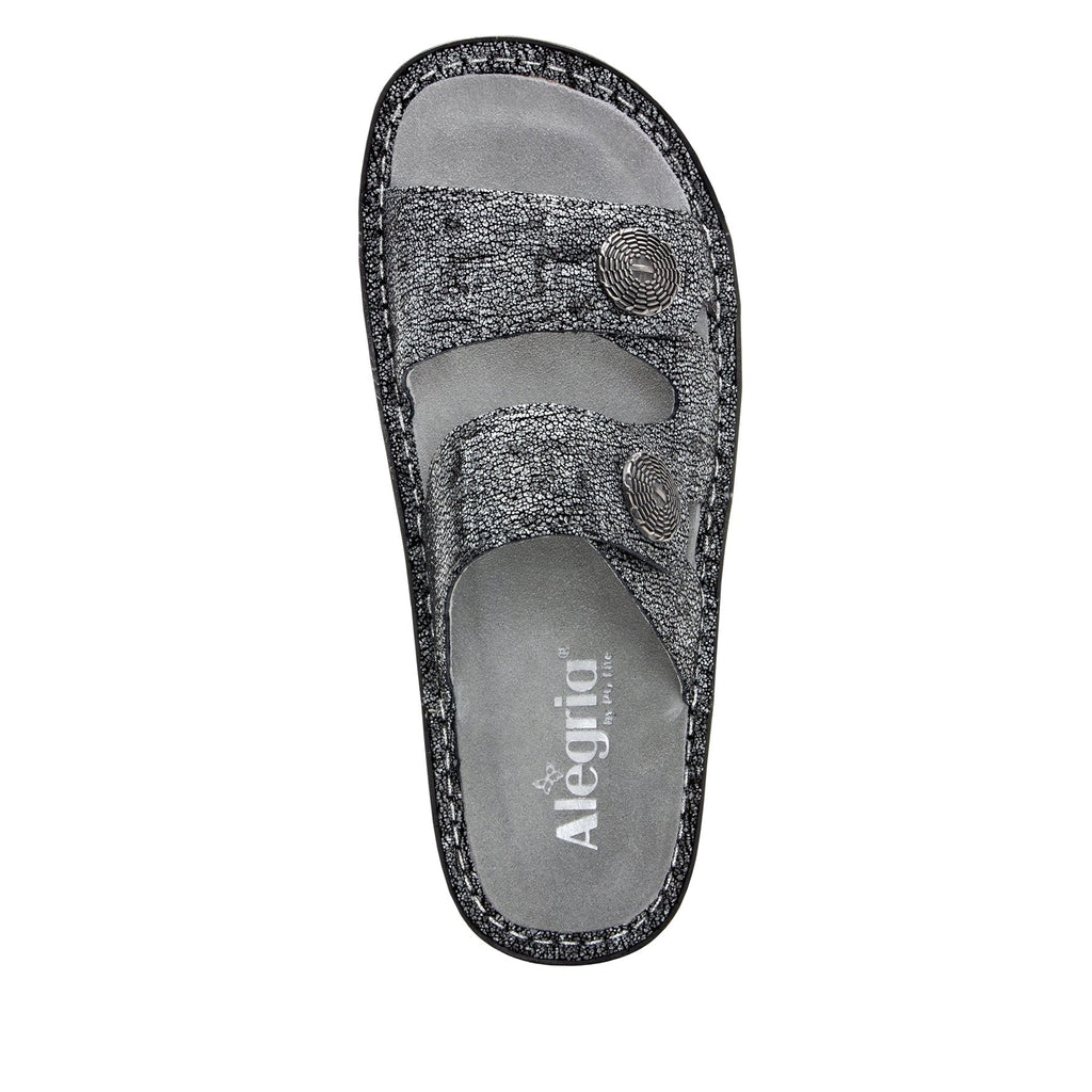 Violette Chirpy Pewter slide sandal with cutout design on mini outsole - VIO-900_S4