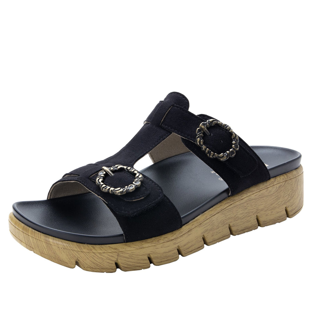 Vita Black gladiator inspired sandal with t-strap hook and loop adjustable straps - VIT-111_S1