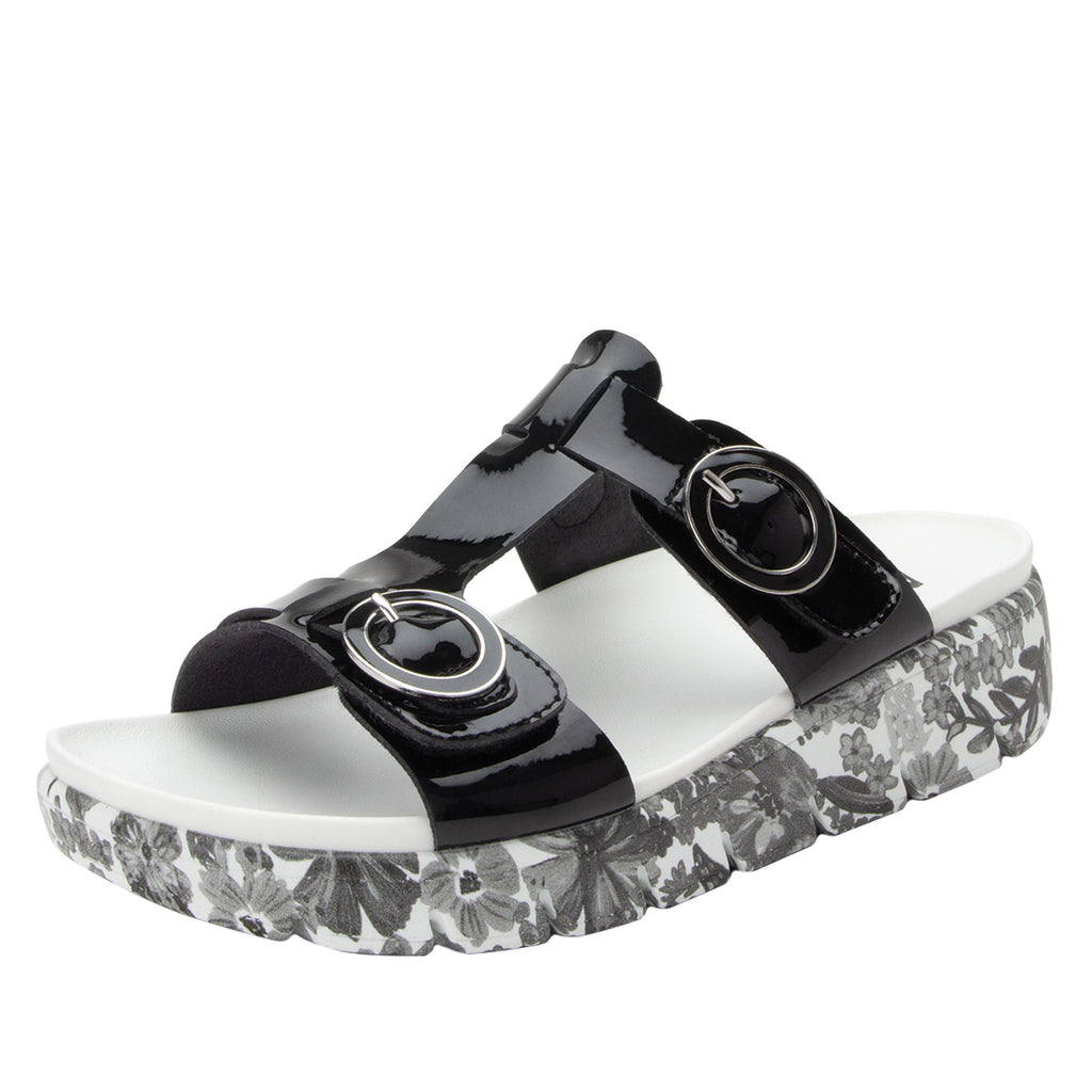 Vita Oasis Black gladiator inspired sandal with two connected hook and loop adjustable straps - VIT-174_S1 (1967606628406)