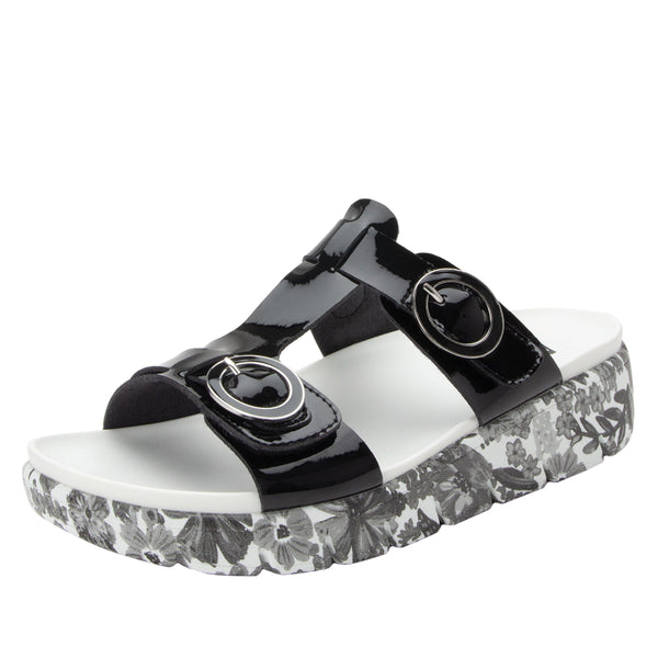 Vita Oasis Black gladiator inspired sandal with two connected hook and loop adjustable straps - VIT-174_S1