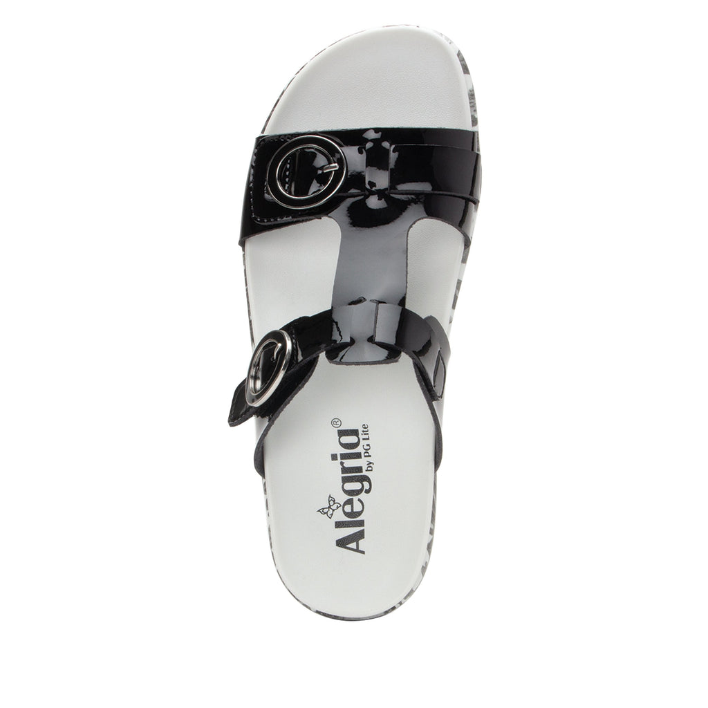 Vita Oasis Black gladiator inspired sandal with two connected hook and loop adjustable straps - VIT-174_S4 (1967606628406)