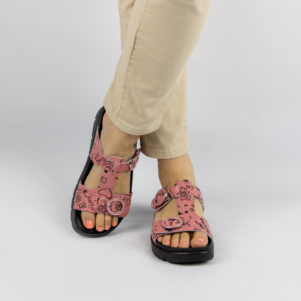 Vita Red Scribble Sandal