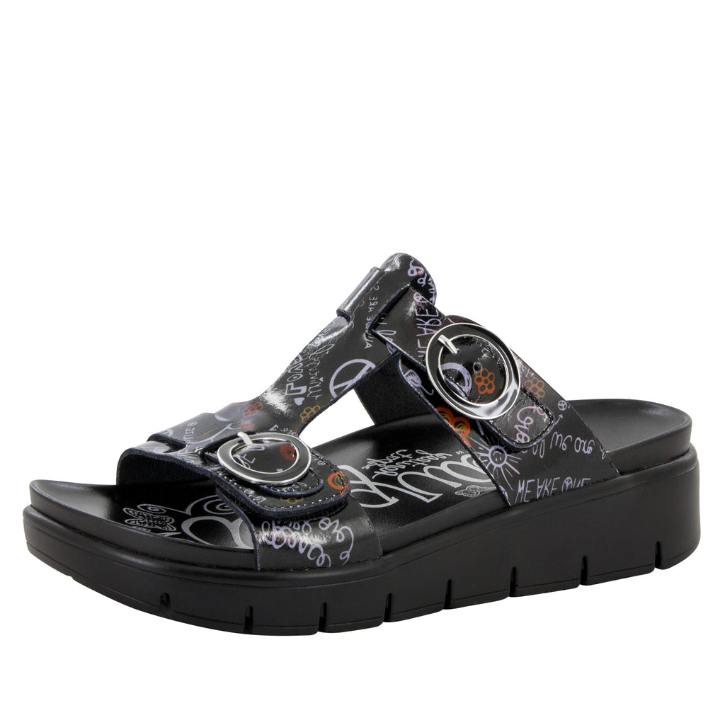 Vita Peace & Love Black Sandal