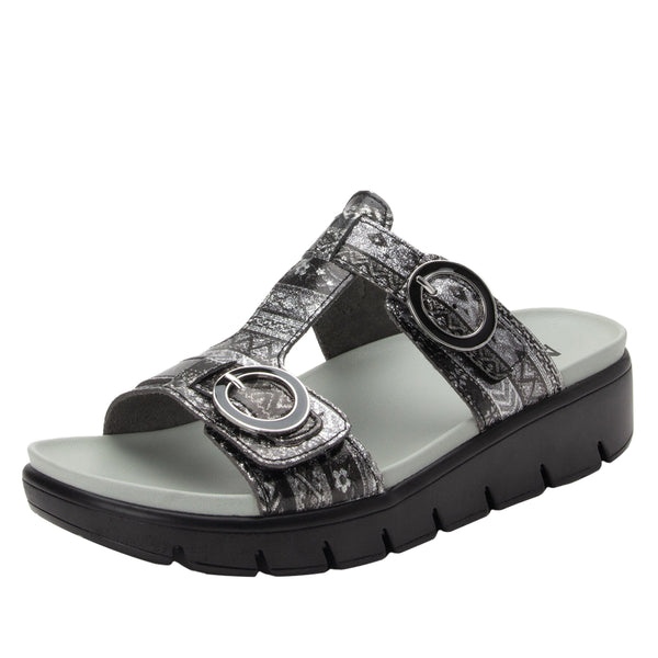 Vita Pow Wow Pewter gladiator inspired sandal with two connected hook and loop adjustable straps - VIT-593_S1