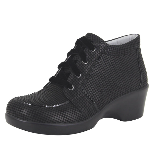 Elsa Houndstooth Mini lace up bootie on the career fashion wedge outsole - ELS-773_S1