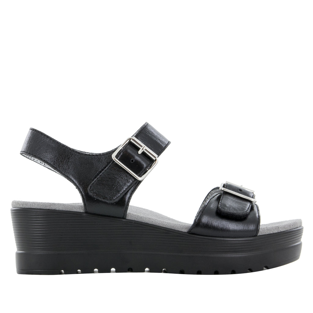 Morgyn Black Mirror flatform wedge sandal, with exposed leather footbed - MOR-159_S2