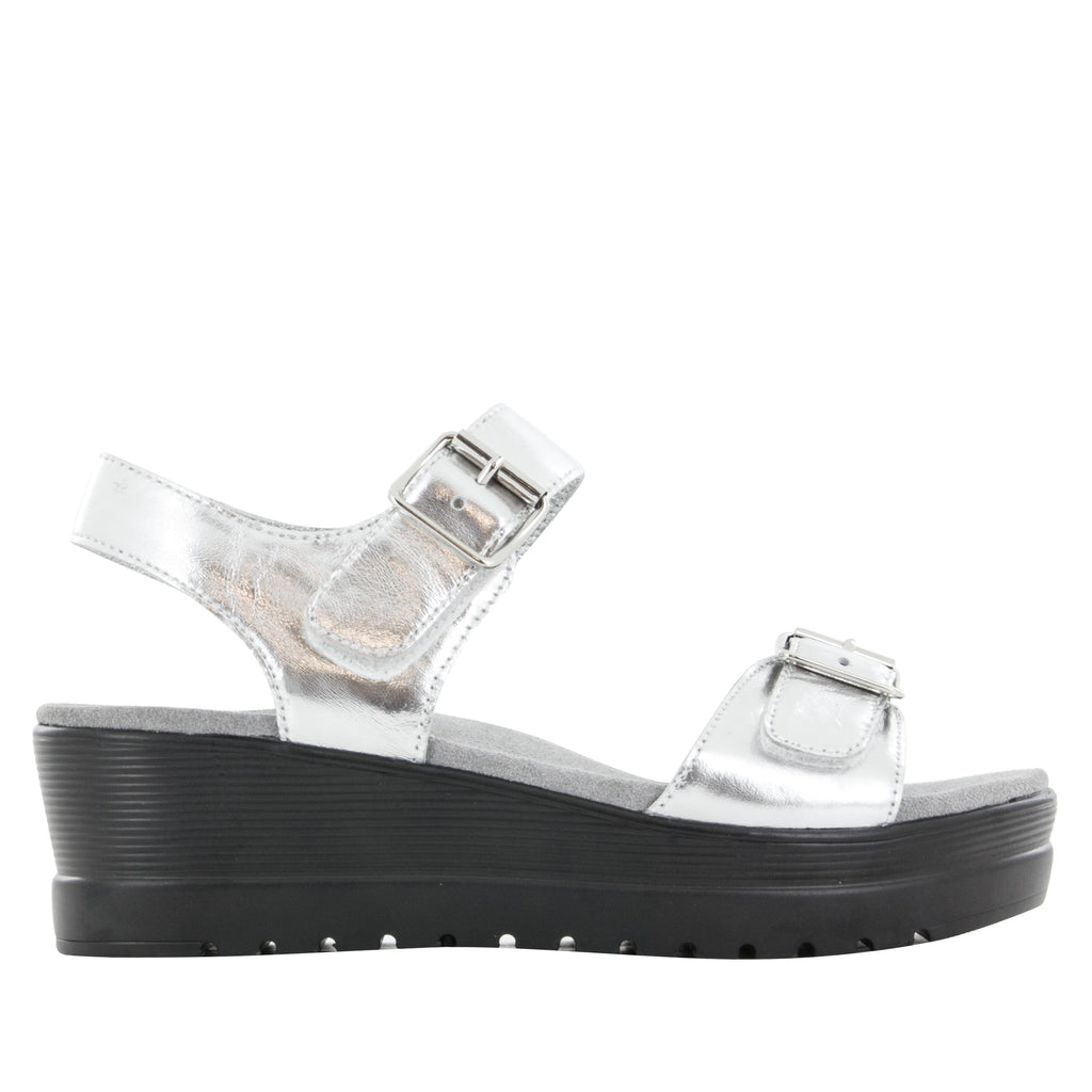 Morgyn Silver Mirror flatform wedge sandal, with exposed leather footbed - MOR-690_S2 (504275140662)
