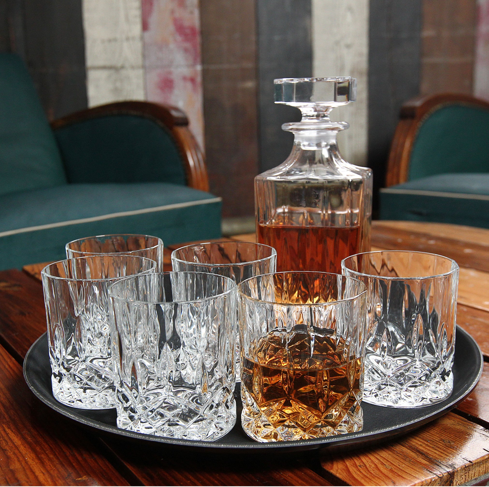Terrific 7Pcs Temple Bar Whisky Spirit Decanter Set Tray Included Home Interior And Landscaping Ologienasavecom