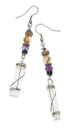 Channeling Earrings with Selenite Wraps