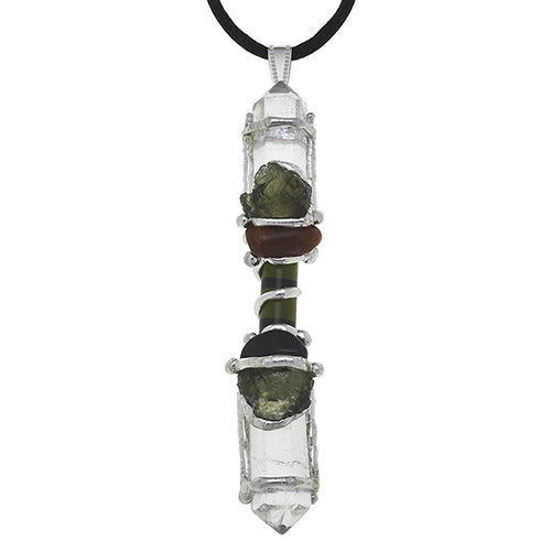 Moldavite Wand Pendant for Protective Empowerment