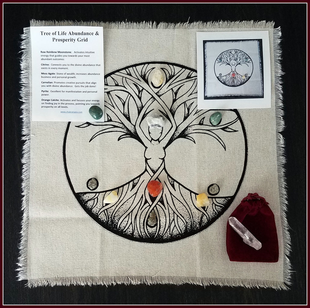Tree of Life Abundance & Prosperity Crystal Grid Bundle