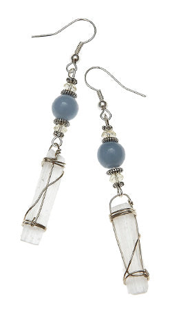 Calling All Angels Earrings with Selenite Wraps