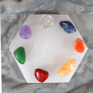 Selenite Hexagon Charging Plate Chakra Crystal Set