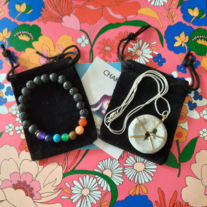 Sweetheart Bundle Special:  Rainbow Moonstone Wheel Necklace + Chakra Gemstone Bracelet