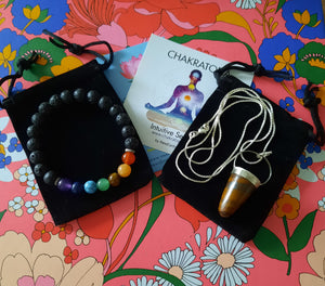 Sweetheart Bundle:  Tiger Eye Pendant + Chakra Bracelet